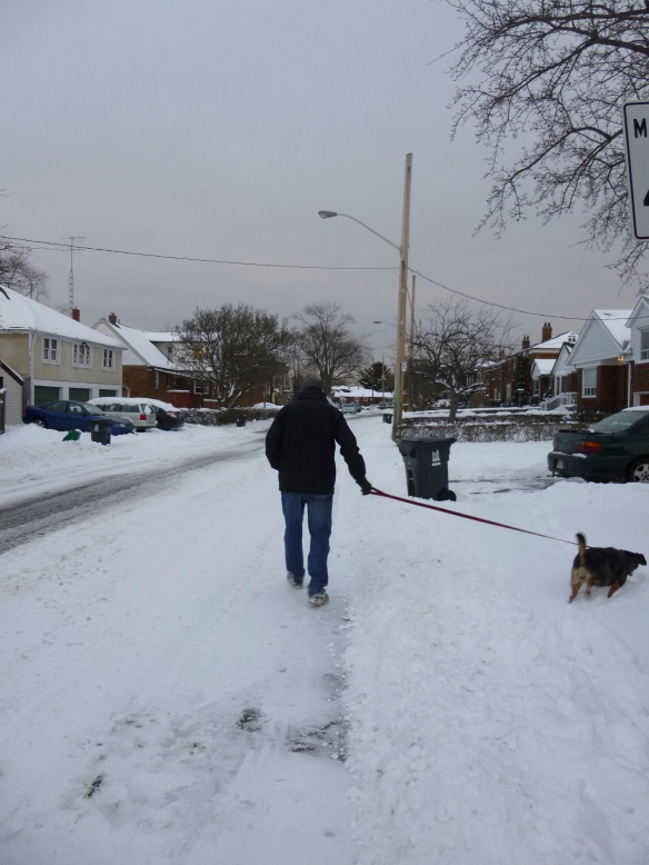 Walking the dog. On our way home.