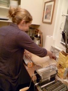 G preparing her homemade pasta.