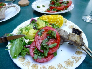 Delicious lamb, fresh tomatoes, green salad with avocados and Ontario corn on the cob. Yum!