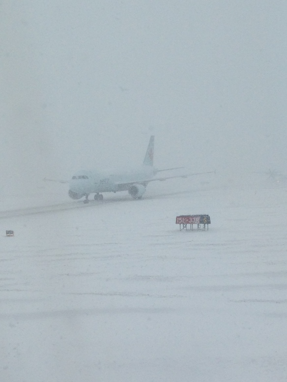 Sitting on the tarmac waiting to be de-iced