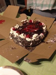My broken birthday cake. It didn't travel well on my husband's bike.