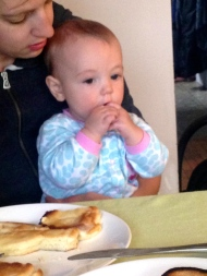 Enjoying pancakes for breakfast made by Papa