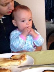 Enjoying pancakes for breakfast made by Papa